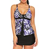 Ekouaer Women Two Piece Tankini Set with Printed Tankini Tops and Boyshort