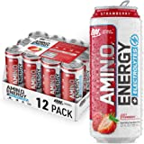 OPTIMUM NUTRITION ESSENTIAL AMINO ENERGY Plus Electrolytes Sparkling Hydration Drink, Juicy Strawberry, Keto Friendly BCAAs,