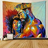 SARA NELL Tapestry African American Lovers Couple Oil Painting Tapestries Wall Art Hippie Bedroom Living Room Dorm Wall Hangi