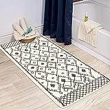 Uphome Moroccan Bath Rug Runner Modern Geometric Velvet Bath Mat 27.5x47 inch Boho Tribal Non-Slip Bathroom Rugs Soft Microfi