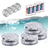 Submersible Pool Lights Led Lights with 4 Deep Water Cover,Waterproof Remote Controlled Color Change Waterproof Lights for Po