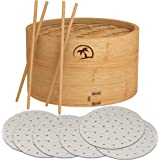 DEALZNDEALZ 3-Piece Bamboo Steamer Basket with Lid 10-inch 2-Tier, 50 Perforated Bamboo Steamer Liners with 2-Pairs of Bamboo