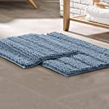 Amrapur Overseas 2-Pack Chenille Noodle Bath Mat with Non-Slip Backing, Blue 2 Count