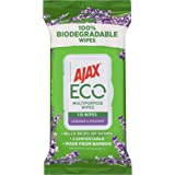 Ajax Eco Multipurpose Antibacterial Disinfectant Biodegradable Compostable Surface Cleaning Wipes Lavender & Rosemary Bulk Pa