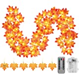 Thanksgiving Decorations Fall Garland String Lights with Timer and Remote, 50 LED 16.4Ft Lighted Autumn Leaves Garlands Decor