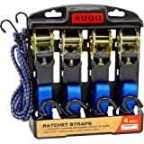Ratchet Tie Down Straps - 4 Pk - 15 Ft- 500 Lbs Load Cap- 1500 Lb Break Strength- Cambuckle Alternative- Cargo Straps for Mov