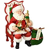 """Department 56 Santa and His Pets Sit Stay Pose Figurine, 11"""", Multicolor"""