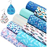 9 Pieces Feather Printed Faux Leather Sheets Pearl Light Solid Color Fabric Sheets 7.9 x 11.8 inch for DIY Bows Earrings Maki