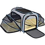 OMORC Pet Carrier Airline Approved, Expandable Foldable Soft-Sided Dog Carrier, 3 Open Doors, 2 Reflective Tapes, Pet Travel