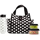 """Fit & Fresh 989FFWB1769 Insulated Lunch Bag Kit, Includes Matching Bottle and Containers, Westport Black Double Dot 12.50"""" x"""