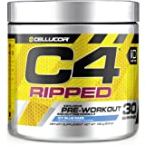 C4 Ripped Pre Workout Powder Icy Blue Razz | Creatine Free + Sugar Free Preworkout Energy Supplement for Men & Women | 150mg