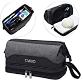 TAIBID Travel Toiletry Bag - Wash Shaving Bathroom Organizer Dopp Kit with Double Compartments for Men and Women, Grey