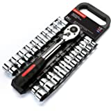 MAXPOWER 21pcs 1/2-inch Ratcheting Socket Wrench Set - Pro Grade Quick Release Reversible Ratchet Half-inch Handle with Metri