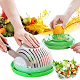 Salad Cutting Bowl, Second Generation Upgrade, Easy Fruit Vegetable Cutter Bowl Fast Fresh Salad Slicer Salad Chopper,can Squ