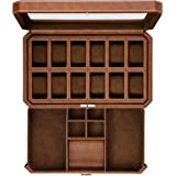12 Slot Leather Watch Box with Valet Drawer - Luxury Watch Case Display Organizer, Microsuede Liner, Locking Mens Jewelry Wat
