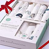 Bamboo Muslin Baby Washcloths   Organic Muslin Cotton Face Towels   Baby Wipes   Soft Bath Washcloths for Newborn with Sensit