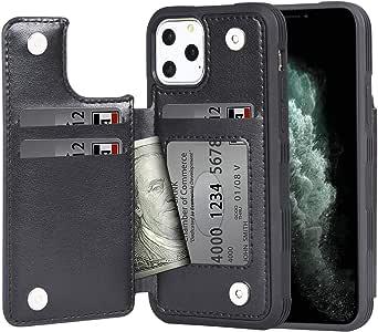 iPhone 11 Pro ケース 手帳型 ワイヤレス充電対応 米軍軍事規格 スマホケース iPhone 11 Pro カバー Arae カード収納 ポケット付き アイフォン11 プロ 2019新型 5.8インチ 対応用 財布型 ケース (ブラック)