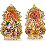 "6"" Beautiful Pair of Lord Ganesha and Lakshmi Clay Statue for Diwali / Deepawali Pooja puja. Laxmi Ganesh Idol. Deewali. Indi"