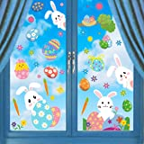 CCINEE 500pc Easter Window Cling Stickers for Home Decoration,Bunny Easter Eggs Decals for Windows 12 Sheets