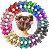 DeD 30 Pieces 4 Inch Glitter hair Bows clips for girl Multi Color Sparkly Sequins hair bows Alligator Clips for Baby Girls Te