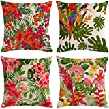 "7ColorRoom Coastal Throw Pillow Covers Sea Theme Sand Beach Pillowcases Cushion Covers Set 18""×18"" for Home Decor, Cotton Lin"