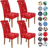 Colorxy Stretch Dining Room Chair Cover Spandex Removable Washable Floral Printing Chair Cover for Kitchen Living Room, Red C
