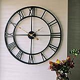Evursua 24 inch Large Home Decor Wall Clock for Living Room Non Ticking Iron Art Clocks Roman Numeral,Retro Distressed Metal,