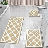 HEBE 3 Pieces Bathroom Rug Set,No Slip Bath Rug Set, Microfiber Shower Bath Rug Absorbent Bath Mat Set for Bathroom Tub and S