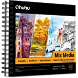 """Mix Media Pad, Ohuhu 8.9""""x 8.3"""" Mixed Media Art Sketchbook, 120 LB/200 GSM Heavyweight Papers 62 Sheets/124 Pages, Spiral Bou"""
