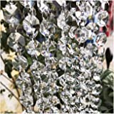 """Beaded Trim Beebel 158"""" Crystal Beads Clear Chandelier Bead Lamp Chain for Wedding Party Tree Garlands Decoration"""