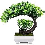Small Artificial Plants Bonsai Tree Fake Plants Room Decor for Bedroom Aesthetic and Farmhouse Bathroom Decor, 9.5 x 8.5 inch