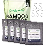 5 Large Pack Bamboo Charcoal Air Purifying Bagwith Hooks, Activated Natural Breathe Air Freshener Deodorizer, Odor Absorber