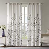 Sheer Curtains for Bedroom, Modern Contemporary Linen Natural Sheer Curtains 84 inches Long for Living Room, Cecily Botanical