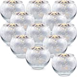 Lamorgift Silver Votive Candle Holders Set of 12 - Mercury Glass Votives Candle Holder - Tealight Candle Holder for Home Deco