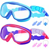 Kids Swim Goggles, 2 Pack 2020 Upgraded Wide Vision Swimming Goggles No Leaking Anti-Fog UV Protection for Children, Girls, B