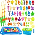 REMOKING Kid Toys 52PCS Fishing Game,Magnetic Toys with Ocean Sea Animal,Fishing Poles,Nets,Inflatable Pool,Toddlers Bathtub