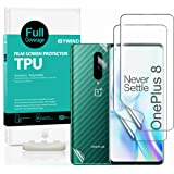 Ibywind Clear TPU Screen Protector For OnePlus 8,[Pack of 2],[Camera Lens Protector][Back Carbon Fiber Film Protector][In-Dis