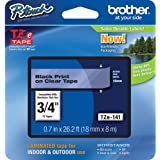 "Brother Genuine P-Touch TZE-141 Tape, 3/4"" (0.7"") Standard Laminated P-Touch Tape, Black on Clear, Laminated for Indoor or Ou"