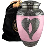 Loving Angel Wings - Niche, Burial, Columbarium or Funeral Adult Cremation Urn for Human Ashes (Large, Pink)