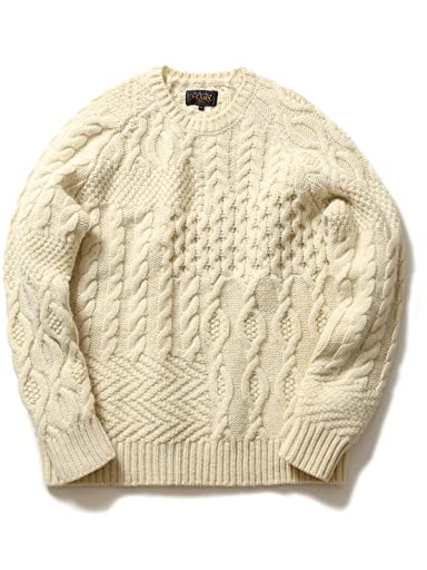 Crazy Pattern Aran Sweater 11-15-0537-048: White