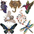 7 Pieces Women Brooch Set Crystal Pin Vintage with Dragonfly Butterfly Hummingbird Owl Elephant Peacock Bee Animal and Insect