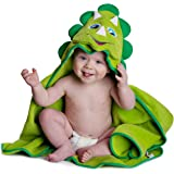 Hooded Baby Towel Dinosaur by Little Tinkers World Natural Cotton Soft and Absorbent Bath Towels with Hood for Babies, Toddle
