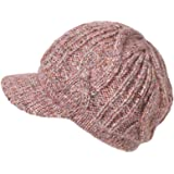 Jeff & Aimy 100% Merino Wool Knit Beret Newsboy Hat Cap for Women Visor Beanie