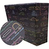 eVincE gift Wrapping Paper Kids Birthday boy | Car Facts Wrap | Pack of 25 thick matte recyclable sheets | 70 x 50 cms size |