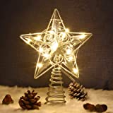 Juegoal Star Tree Topper with 20 LED Lights, Silver Lighted Treetop Christmas Tree Decoration, 9 Inches (H)