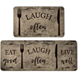 Atoid Mode Eat Good Laugh Often Live Well Decorative Kitchen Mats Set of 2, Seasonal Fox and Knife Holiday Party Low-Profile