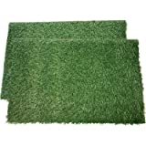 LOOBANI Dog Grass Pee Pads, Artificial Turf Pet Grass Mat Replacement for Puppy Potty Trainer Indoor/Outdoor Use - Set of 2 (