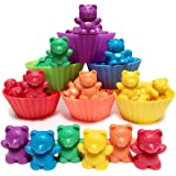Jumbo Counting Bears with Stacking Cups - Montessori Rainbow Matching Game, Educational Toys and Colour Sorting Toys for Todd