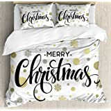 Ambesonne Christmas Duvet Cover Set King Size, Merry Christmas Stylized Lettering on Abstract Modern Snowflake Dot Pattern, D