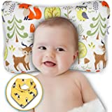 Baby Head Shaping Pillow - Newborn Infants Flat Head & Reflux Prevention - Organic Cotton Hypoallergenic - Breathable Air Mes